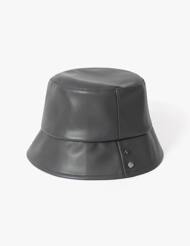 Buffing Leather Crimp Bucket Hat_Dim Charcoal