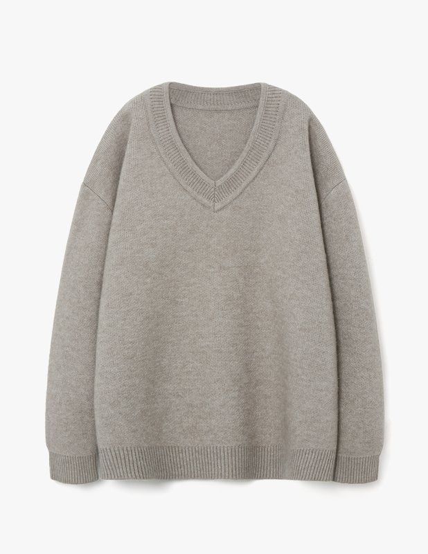 Wool Over V Neck Knit_Oatmeal