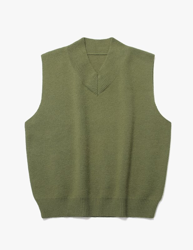 Wool Over V Neck Knit Vest_Khaki