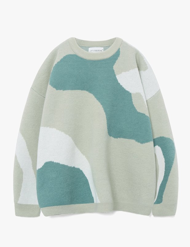 Wool Colorway Over Crew Neck Knit_Mint Green