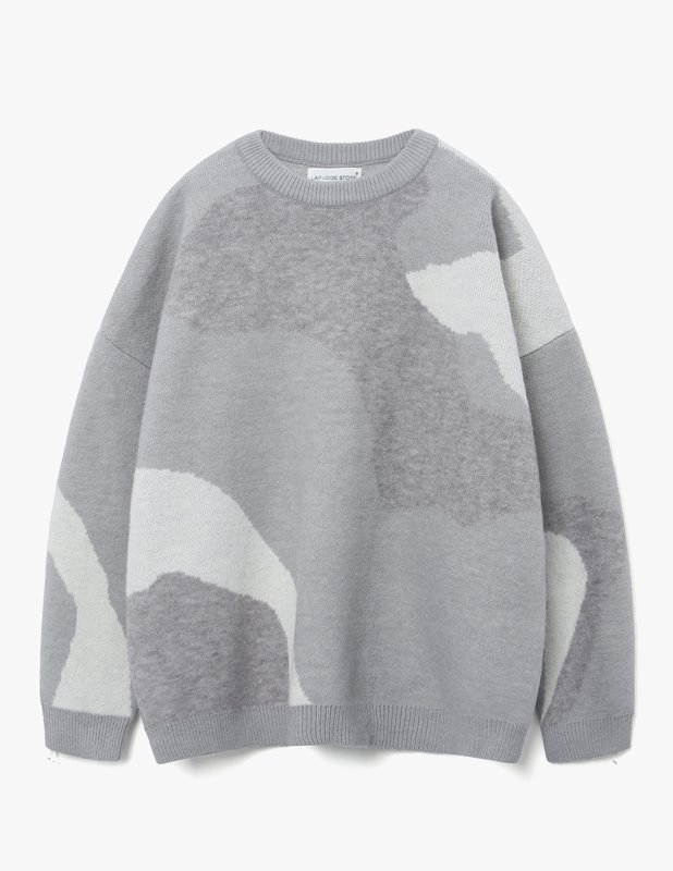 Wool Colorway Over Crew Neck Knit_Light Gray