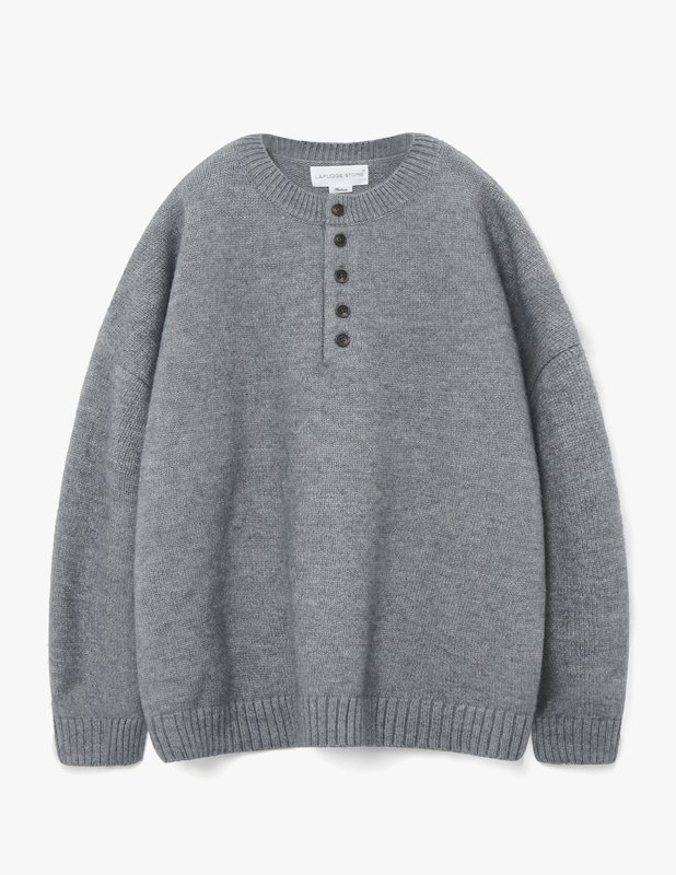 Wool Over Henley Neck Knit_Gray