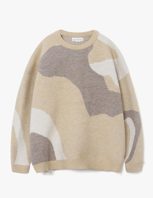 Wool Colorway Over Crew Neck Knit_Orange Brown