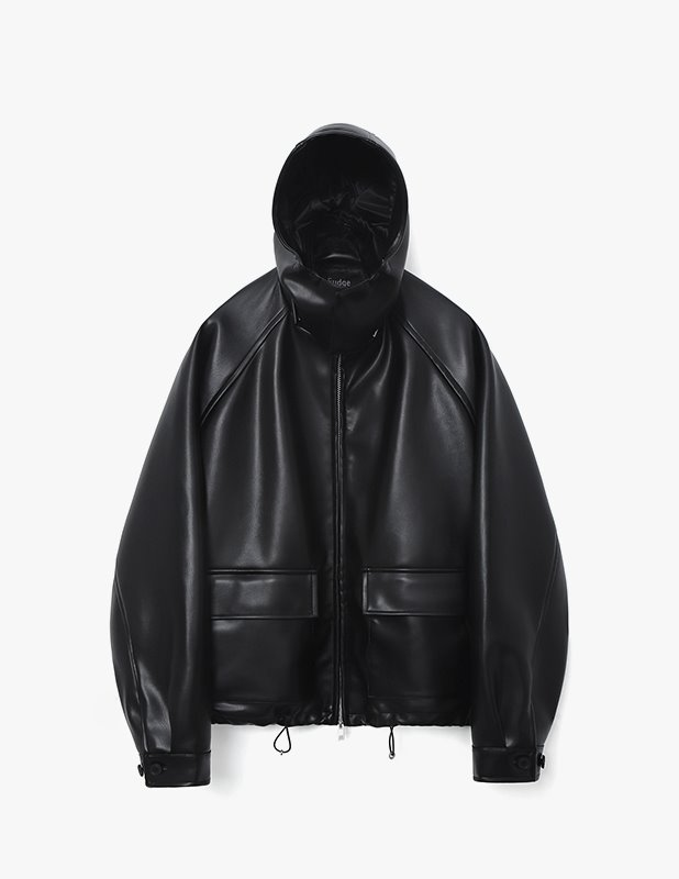 Buffing Leather Utility Hood Jacket_Black