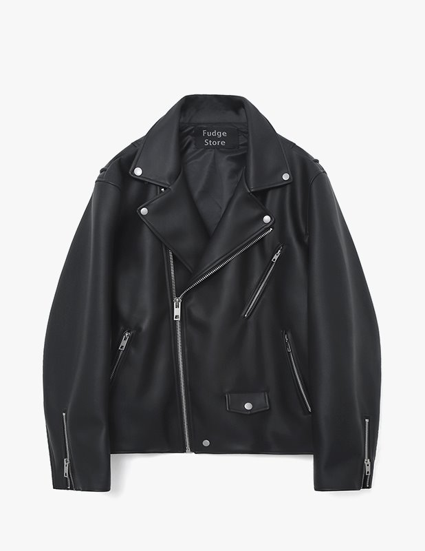 Matt Buffing Leather Rider Jacket_Matt Black