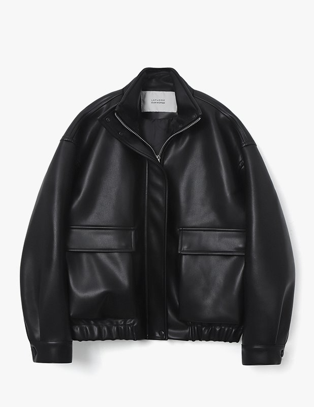 [Woman]Buffing Leather Over Blouson Jumper_Black