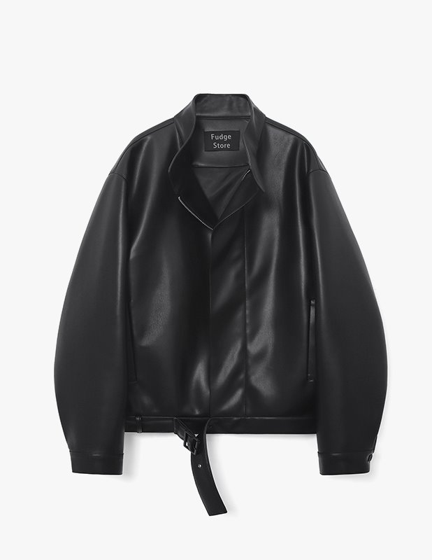 Buffing Leather Belted Blouson_Black