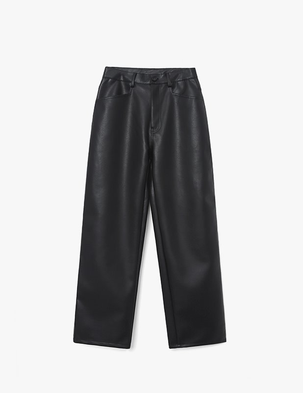 Buffing Leather Light Relax Pants_Black