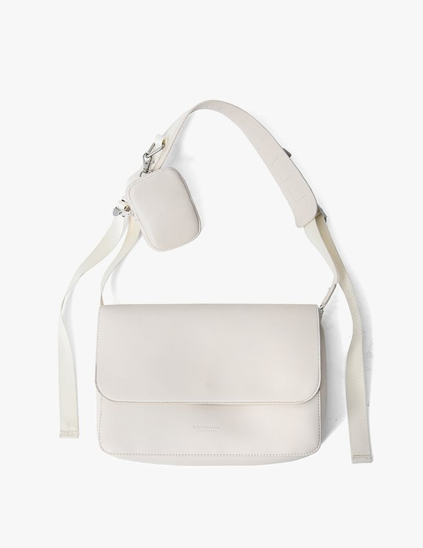 Buffing Leather Utility Flap Mini Cross Bag_Cream