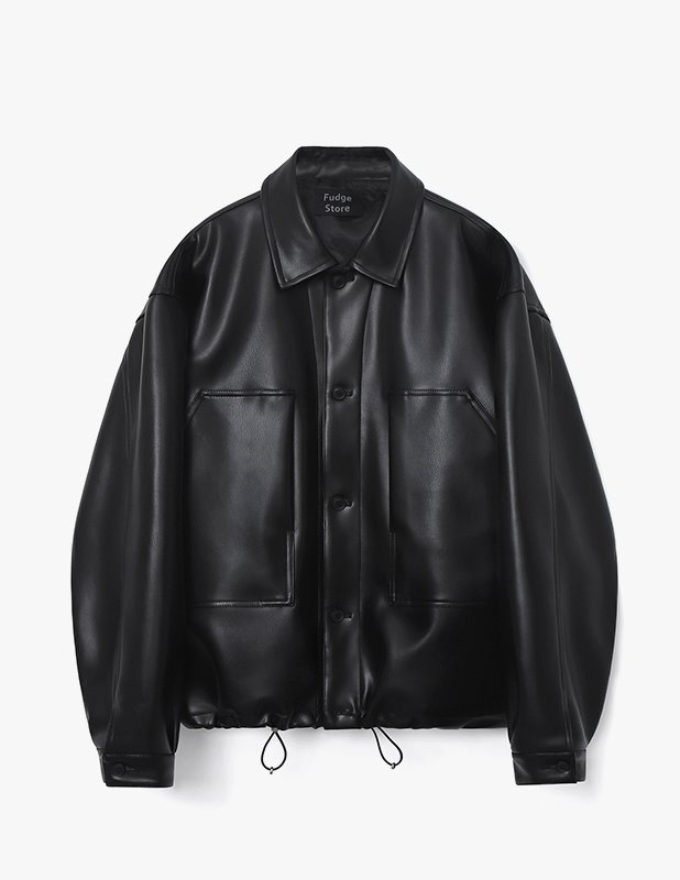 Buffing Leather Shirting Blouson_Black