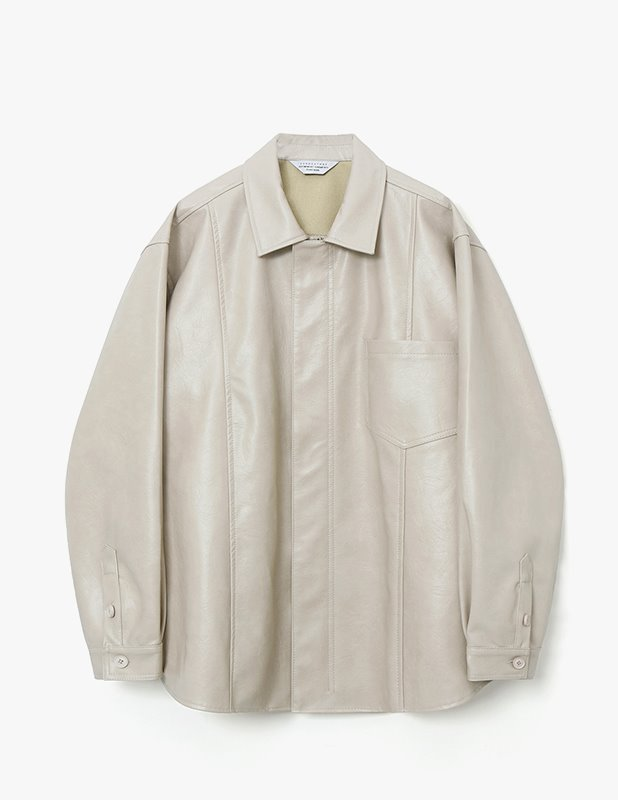 Crack Buffing Leather Over Shirt Jacket_Cream