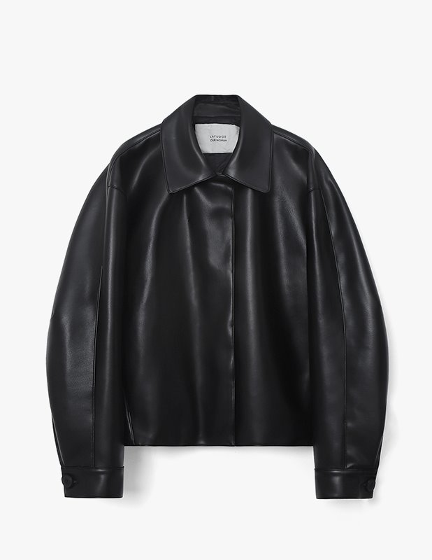 [Woman] Buffing Leather Volume Half Coat_Black