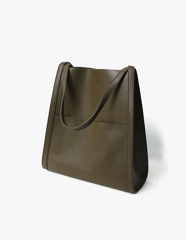 Buffing Leather Bucket Bag_Olive Khaki