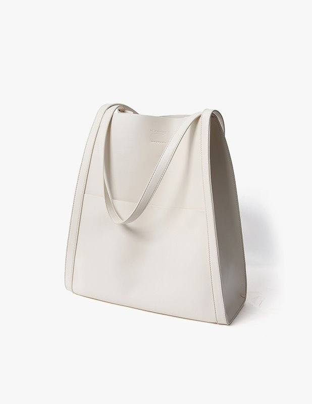 Buffing Leather Bucket Bag_Cream