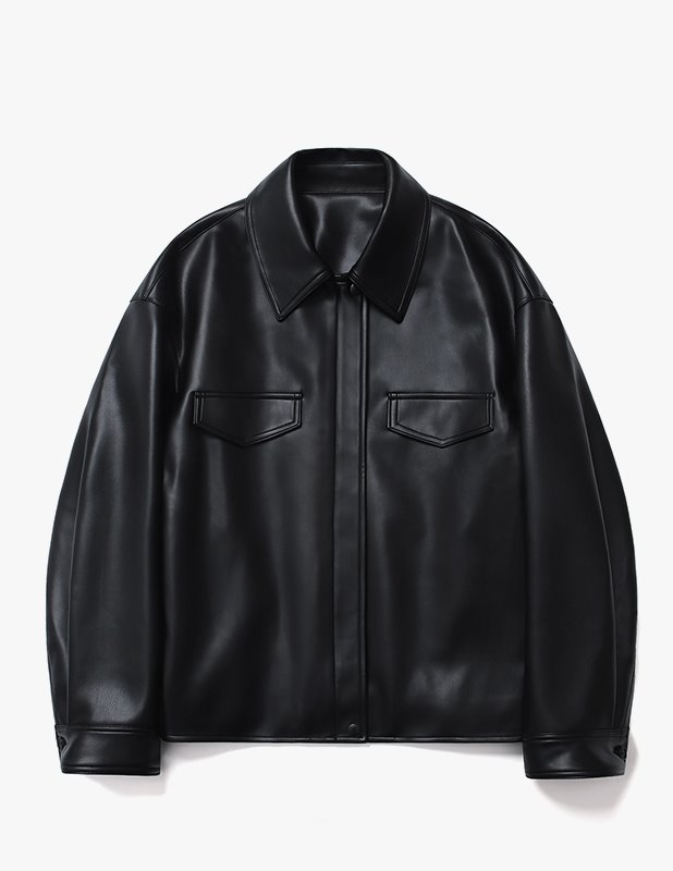 Buffing Leather Utility Trucker Jacket_Black