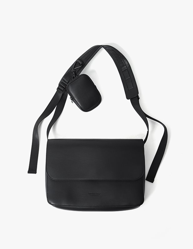 Buffing Leather Utility Flap Mini Cross Bag_Black