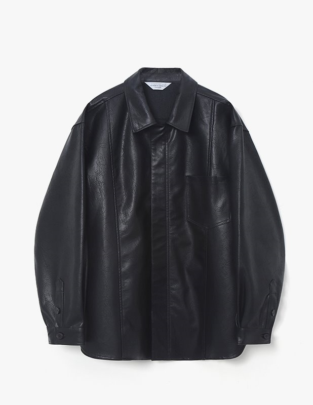 Crack Buffing Leather Over Shirt Jacket_Black