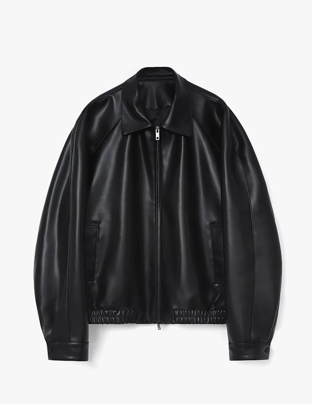 Buffing Leather Over Blouson Jumper_Black