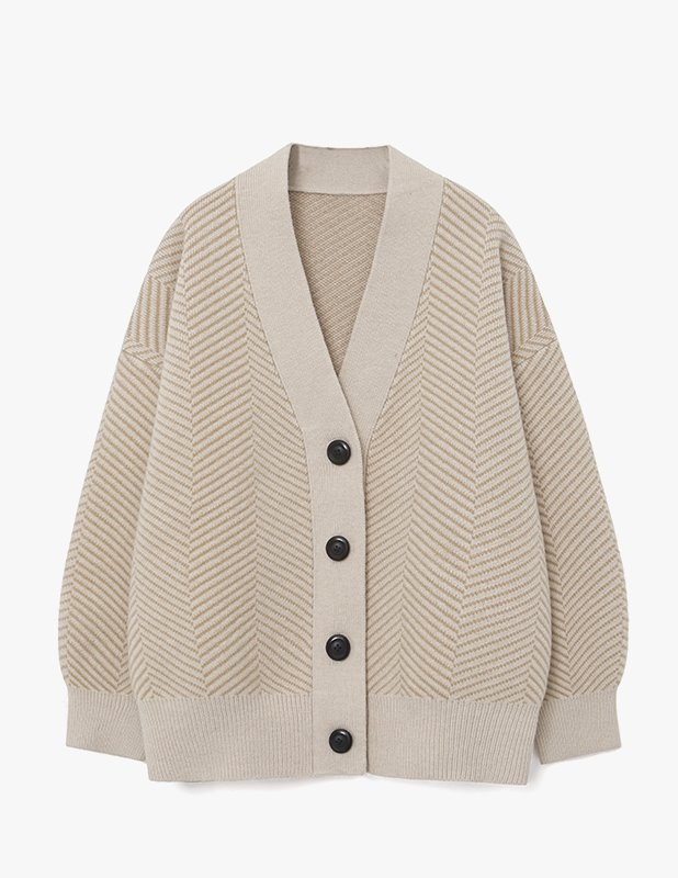 [Woman] Wool Over Balloon Herringbone Cardigan_Sand Beige