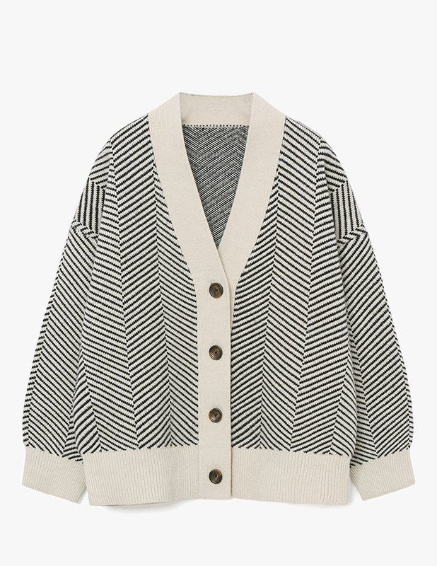 [Woman] Wool Over Balloon Herringbone Cardigan_Black