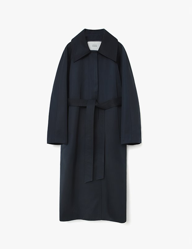 [Woman]Blending Wide Collar Trench Mac Coat_Dark Navy