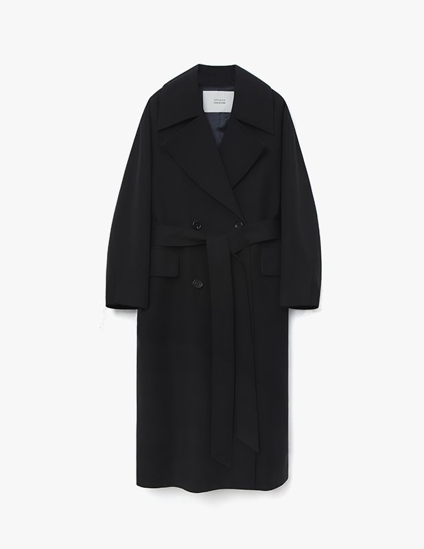 [Woman]Blending Wide Collar Trench Double Coat_Black