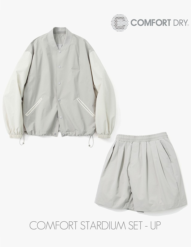 [SET]Ordinary Comfort stadium Jacket Wide Two Tuck 1/2 Pants Set Up_Neutral Gray