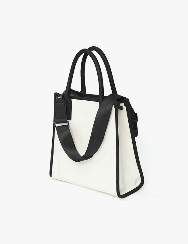 [Woman]Carolyn Canvas Square tote bag_Black