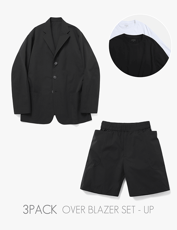 [3 PACK]Ordinary Comfort Uncon Over Blazer Relax 1/2 Pants Set Up_Black