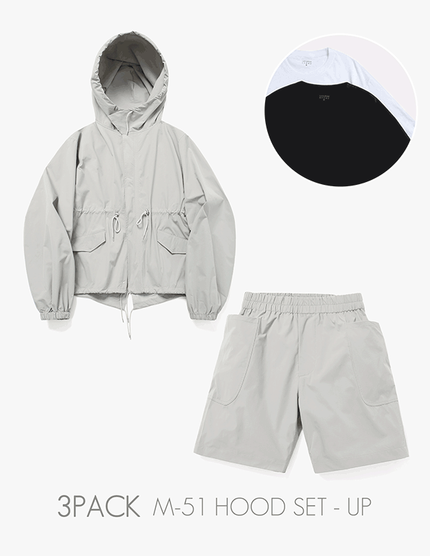 [3 PACK]Ordinary Comfort M51 Half Over Hood Field Jarket Relax 1/2 Pants Set Up_Neutral Gray