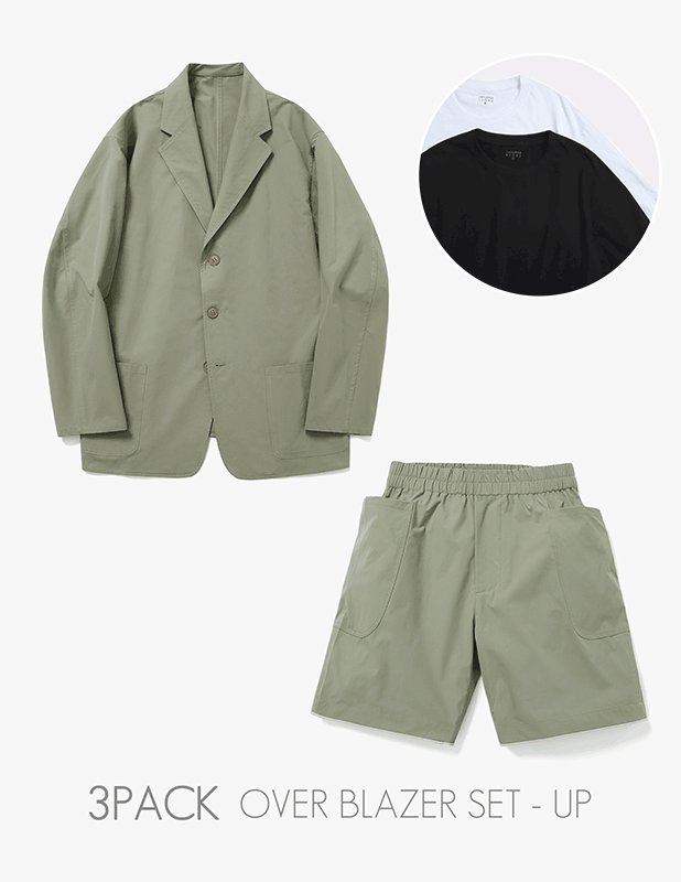 [3 PACK]Ordinary Comfort Uncon Over Blazer Relax 1/2 Pants Set Up_Martine Olive
