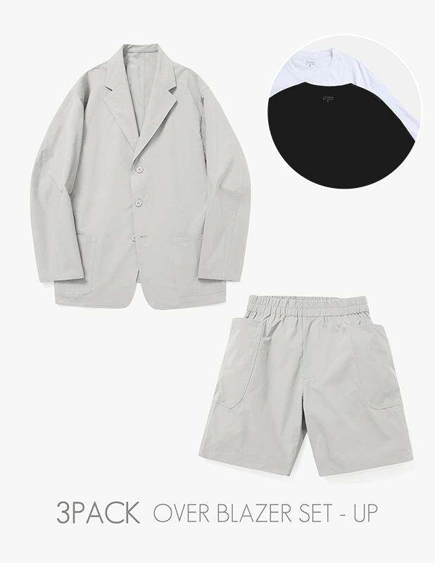 [3 PACK]Ordinary Comfort Uncon Over Blazer Relax 1/2 Pants Set Up_Neutral Gray