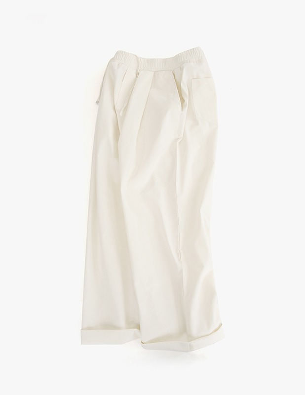 Tapered Wide One Tuck Linen pants_Cream