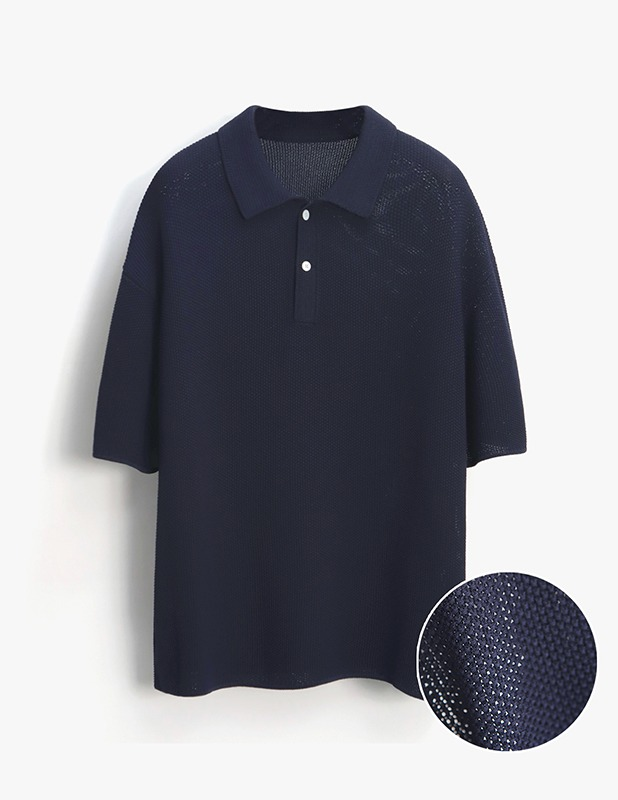 [5/14 예약발송]Skashi Ove Polo Knit_MidNight Blue