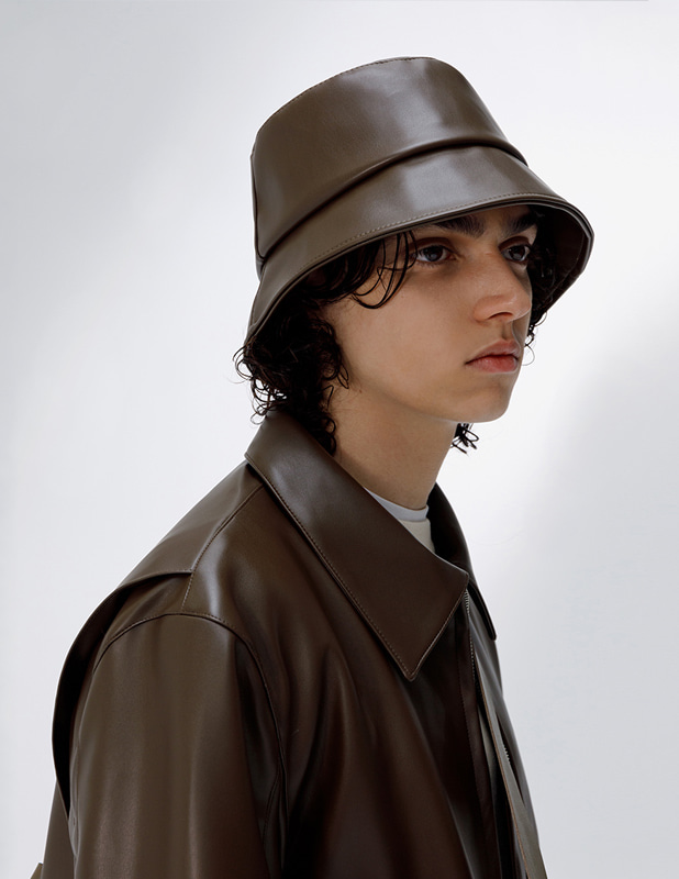 Buffing Leather Crimp Bucket Hat_Khaki Brown