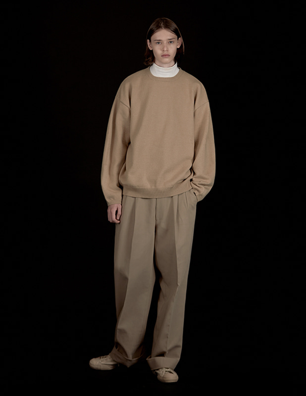 Wool Over Balloon Crew Neck Knit_Camel