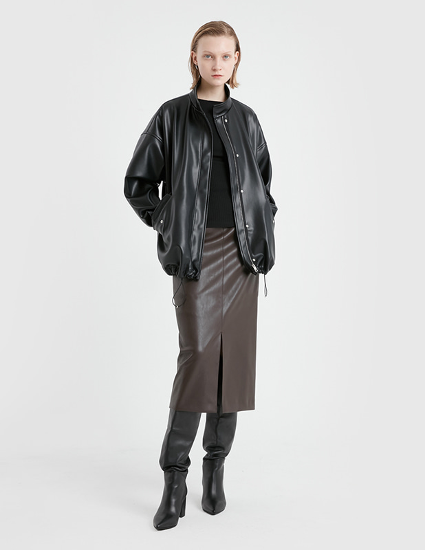 [Woman]Buffing Leather Over Field Jacket_Black