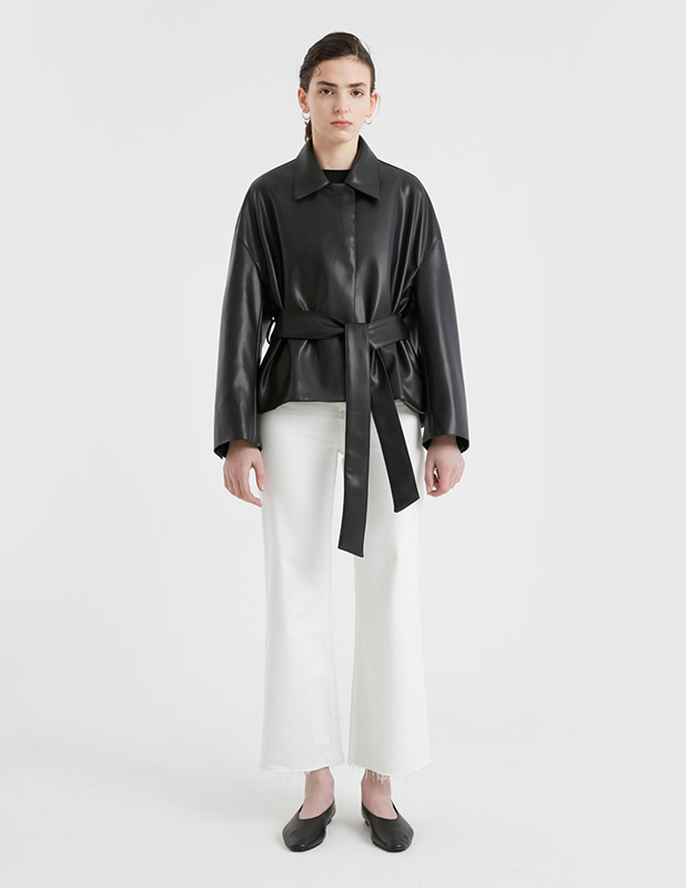 [Woman]Buffing Leather Half Robe Coat_Black