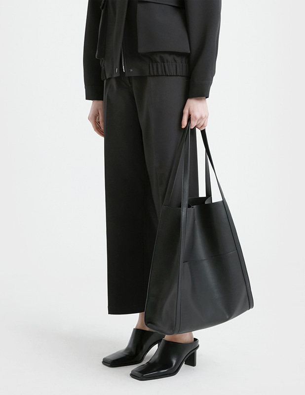 Buffing Leather Bucket Bag_Black