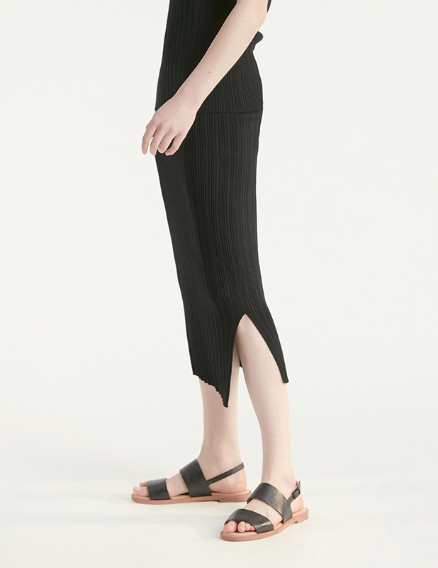 [Woman]Pleasant Knit Slit Skirt_Black