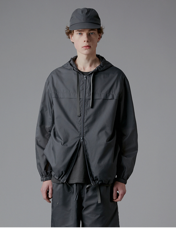 Ordinary Amard Hood Zip Up Jacket_Dim Gray