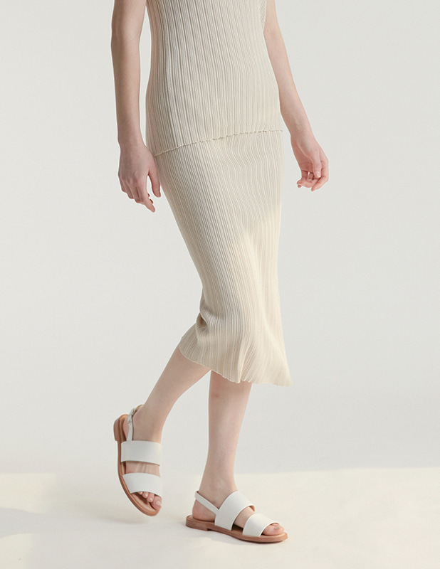 [Woman]Pleasant Knit Slit Skirt_Cream
