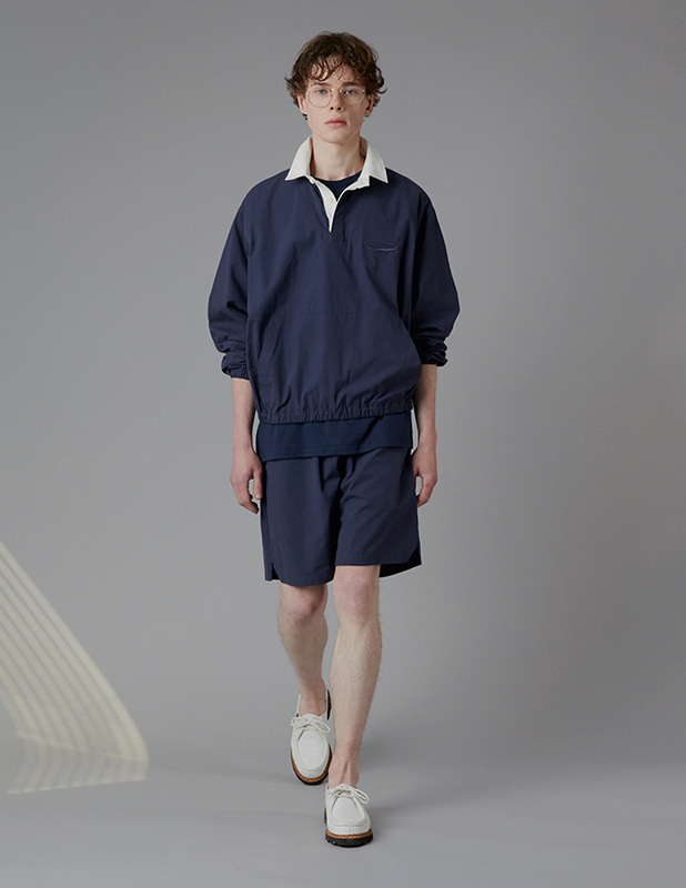 [SET]Sanding Oxford Collar Anorak Shirt Essential Colorway 1/2 Pants Set Up_Light Navy