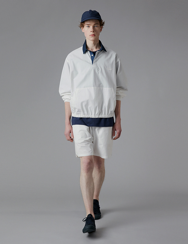 [SET]Sanding Oxford Collar Anorak Shirt Essential Colorway 1/2 Pants Set Up_Off White