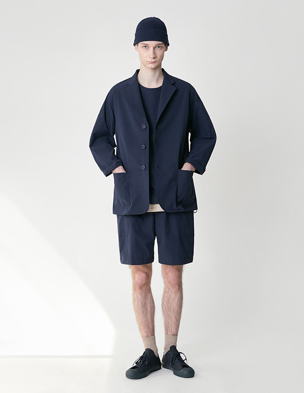 [3 PACK]Ordinary Comfort Uncon Over Blazer Relax 1/2 Pants Set Up_MidNight Blue