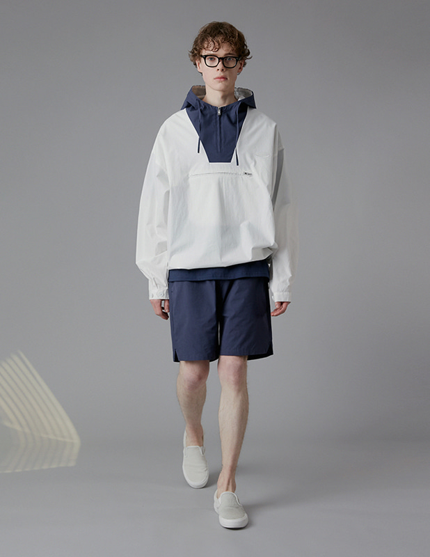 [SET]Sanding Oxford Hood Colorway Anorak Shirt Essential Colorway 1/2 Pants Set Up_Off White