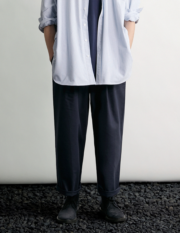 Tapered Wide One Tuck Linen pants_MidNight Blue
